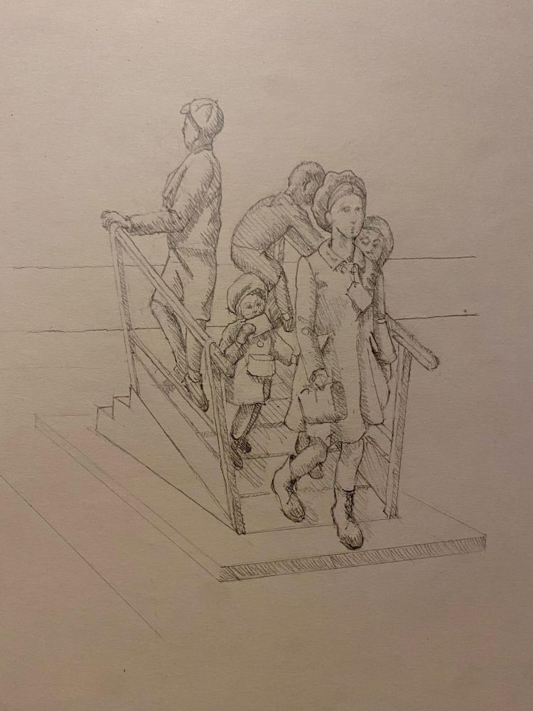 Ian Wolter - sketch for Kindertransport Memorial in Harwich